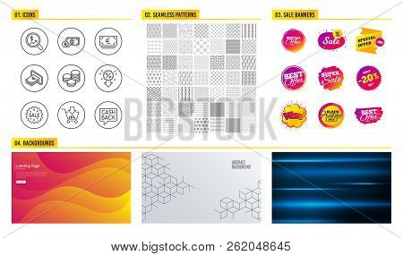 Seamless Pattern. Shopping Mall Banners. Set Of Shopping, Discount And Sale Icons. Cash, Dollar Mone