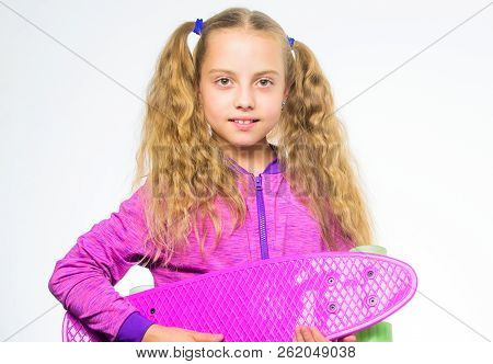 Penny Board Of Her Dream. Best Gift For Kid. Kid Long Hair Carry Penny Board. Plastic Skateboards Fo