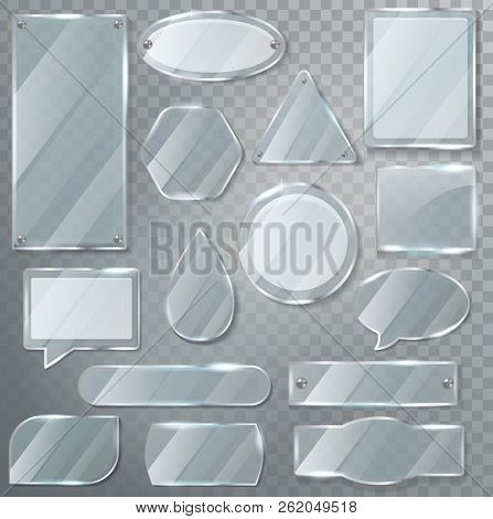 Glass Vector Transparency Glossy Clear Blank Frame And Realistic Empty Glassful Template Illustratio