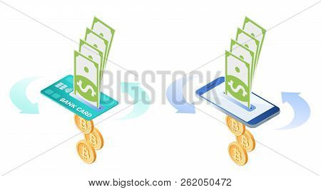The Exchange, Currency Conversion Of Bitcoins To Dollars. Flat Vector Isometric Illustration Of Bit