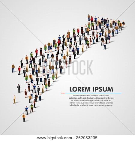 Large Group Of People In The Shape Of A Grossing Arrow. Way To Success. Business Concept. Vector Ill