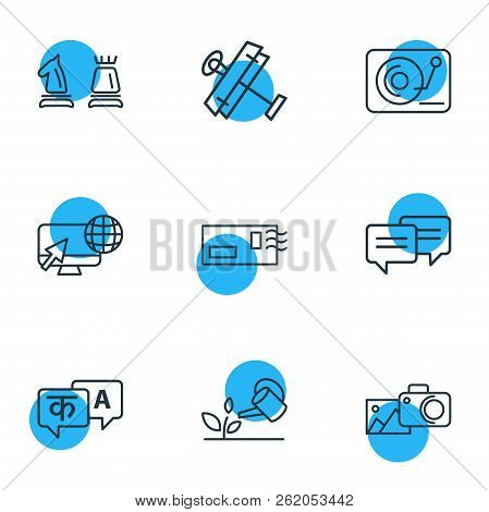Vector Illustration Of 9 Hobby Icons Line Style. Editable Set Of Photography, Djing, Aeromodeling An