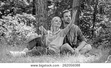 Romantic Couple Students Enjoy Leisure Looking Upwards Observing Nature Background. Romantic Date At