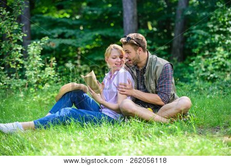 Couple In Love Spend Leisure Reading Book. Couple Soulmates At Romantic Date. Pleasant Weekend. Roma