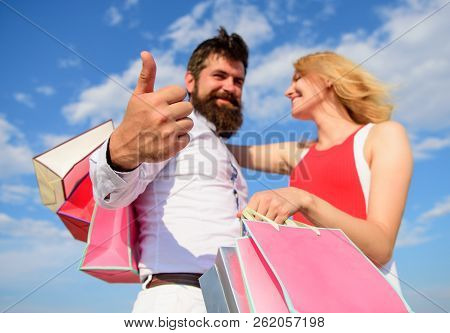 Man With Beard Shows Thumb Up Gesture. Couple In Love Recommend Shopping Summer. Happy Wife Satisfie