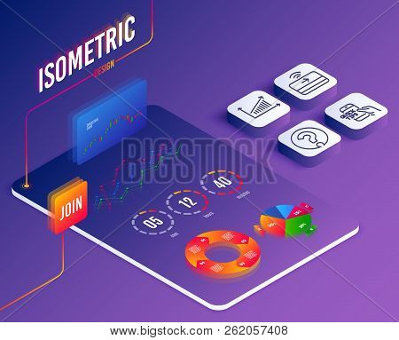 Isometric Vector. Set Of Chart, Education And Contactless Payment Icons. Question Mark Sign. Present