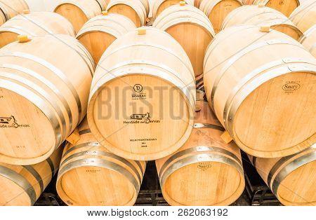 Estremoz, Portugal - August 21, 2018: Wine Barrels In Herdade Das Servas Winery Cellar In Alentejo R