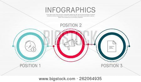 Modern And Simple Flat Vector Illustration. Infographic Template With Three Circles, Elements, Secto