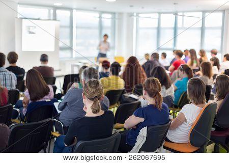 Speaker Giving Presentation Talk On Business Conference.