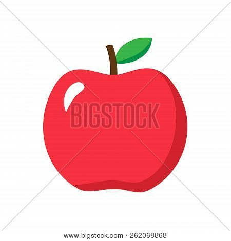 Apple Vector Illustration, Red Apple Fruit Graphic Isolated On White Background. Apple Icon Or Print