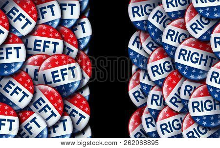 Left Wing And The Right Vote Badges As A United States Election  Or American Voting Concept As A Sym