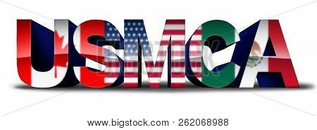 Usmca Or The New Nafta United States Mexico Canada Agreement Symbol With North America Flags As A Tr