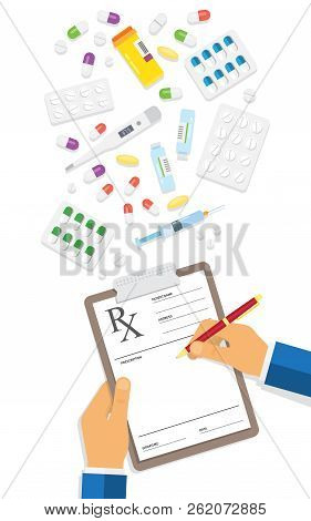 Doctor Writing Notes On A Prescription Pad. Empty Medical Prescription Rx Form. Healthcare. Vector I