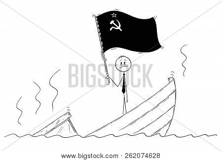 Cartoon Stick Drawing Conceptual Illustration Of Politician Standing Depressed On Sinking Boat Wavin