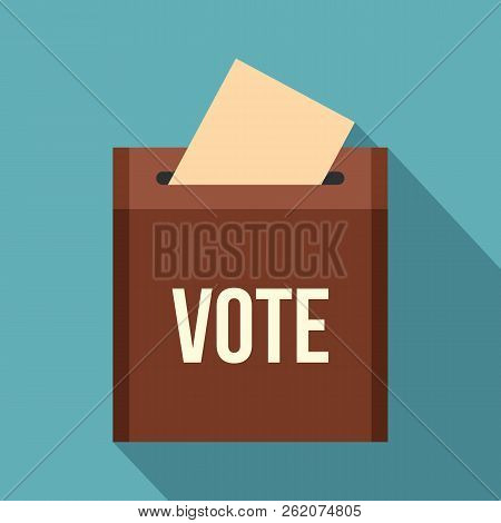 Brown Ballot Box For Collecting Votes Icon. Flat Illustration Of Brown Ballot Box For Collecting Vot