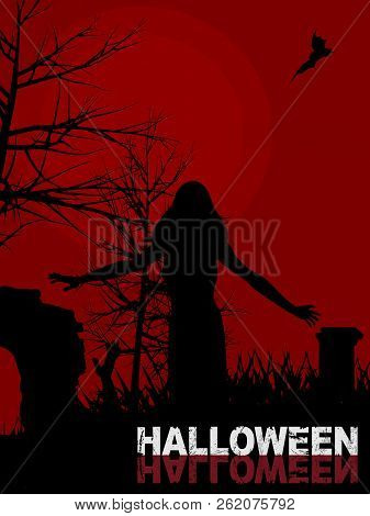 Dark Red Halloween Background With Female Zombie Silhouette Walking In A Graveyard And Decorative Te