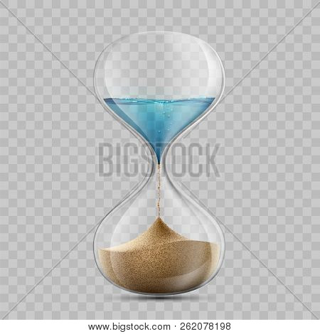 Water In Hourglass Becomes A Sand. Sandglass Isolated On Transparent Background. Stock Vector Illust
