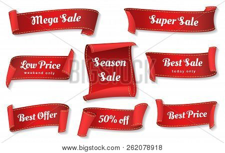 Sale Ribbons. Red Ribbons Price Badges Isolated On White Background, Glossy Cheap Sales Tags Collect