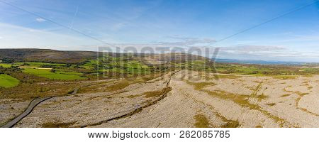 The Burren National Park In County Clare, Ireland. Beautiful Scenic Rural Irish Countryside Along Th