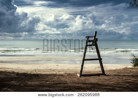 Lifeguard Chair On The Beach In The Upcoming Monsoon Climate.