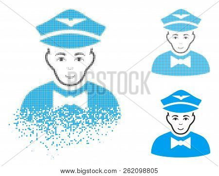 Airline Steward Icon With Face In Dissipated, Pixelated Halftone And Undamaged Entire Versions. Part