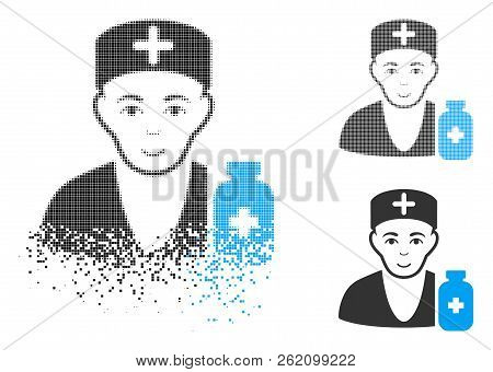 Apothecary Doctor Icon With Face In Dissipated, Pixelated Halftone And Undamaged Solid Versions. Par