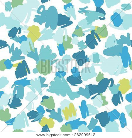 Trendy Pastel Scribbles Pattern. Abstract Fabric Texture
