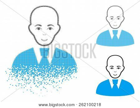 Bald Clerk Icon With Face In Dissipated, Pixelated Halftone And Undamaged Entire Variants. Cells Are