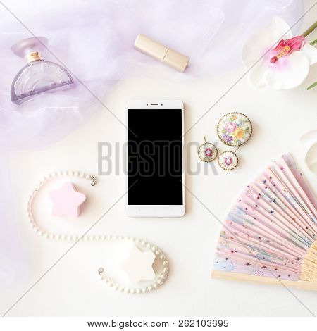 Beauty Products, Jewelry And Smartphone Top View On White Background. Elegant Fashion Stylish Light