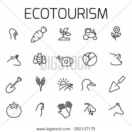 Ecotourism Related Vector Icon Set. Well-crafted Sign In Thin Line Style With Editable Stroke. Vecto