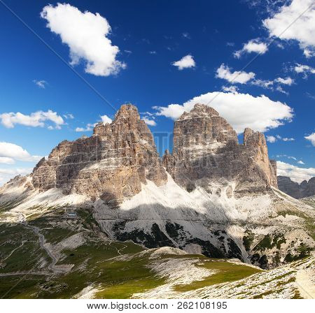 Drei Zinnen Or Tre Cime Di Lavaredo With Beautiful Sky, Sextener Dolomiten Or Dolomiti Di Sesto, Sou