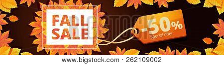 Autumn Final Sale Banner Horizontal. Cartoon Illustration Of Vector Autumn Final Sale Banner Horizon