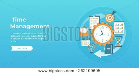 Time Management And Business Planning, Organization, Working. Clock, Notepad, Calendar, Clipboard, T