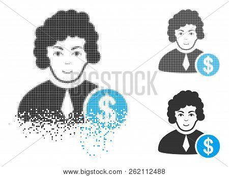 Corrupt Judge Icon With Face In Fractured, Dotted Halftone And Undamaged Solid Versions. Fragments A