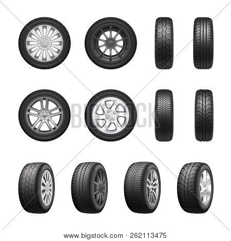 Tires Wheels Shown From Different Sides Realistic Set Isolated On White Background Vector Illustrati