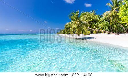 Amazing Beach Scene, Tropical Landscape Of Maldives Island. Exotic Travel Destination For Luxury Sum