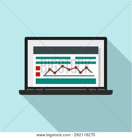 Laptop Finance Graph Icon. Flat Illustration Of Laptop Finance Graph Vector Icon For Web Design