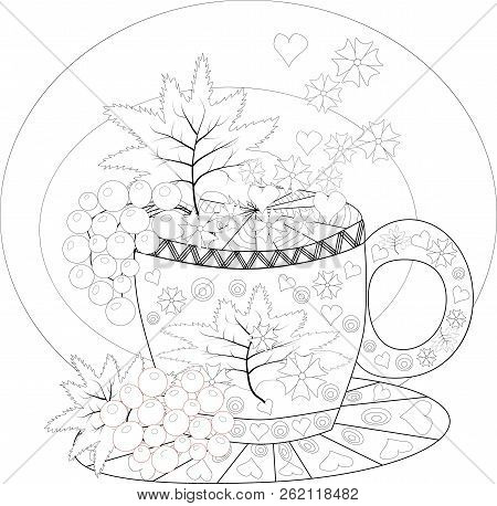 Hand Draw Vector Coloring Book For Adult. Teatime. Cups Of Tea, Fruits And Flowers