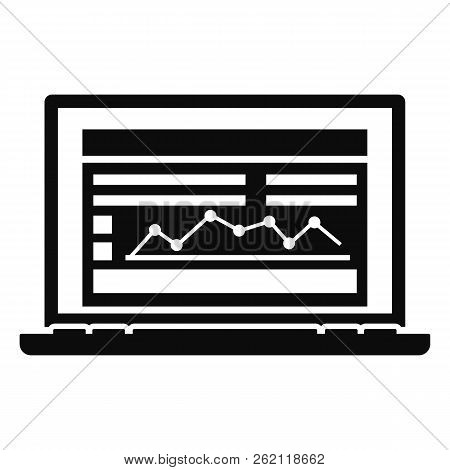 Laptop Finance Graph Icon. Simple Illustration Of Laptop Finance Graph Vector Icon For Web Design Is