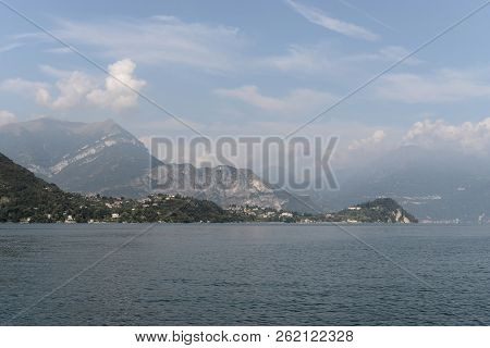 Lake Como And Alps In The Background, Lombardy Region, Italy, Europe.