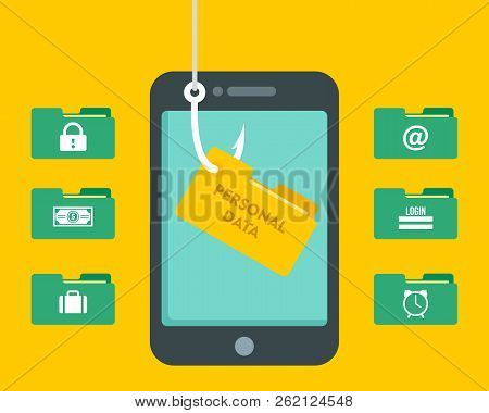 Phishing Personal Data Hack Concept Background. Flat Illustration Of Phishing Personal Data Hack Vec