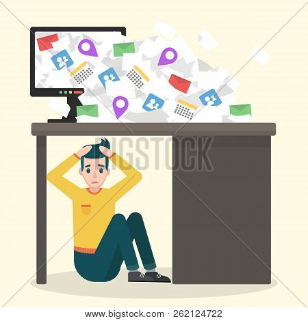 Young Upset Man Sitting Under The Table. Information Overload Vector Concept. Flat Design Illustrati