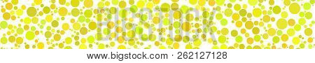 Abstract Horizontal Banner Of Circles Of Different Sizes In Shades Of Yellow Colors On White Backgro