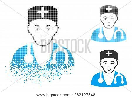 Physician Icon With Face In Dissipated, Dotted Halftone And Undamaged Entire Versions. Pixels Are Ar