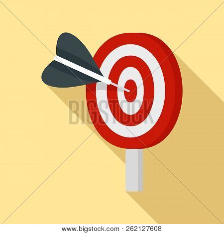 Target Solution Icon. Flat Illustration Of Target Solution Vector Icon For Web Design