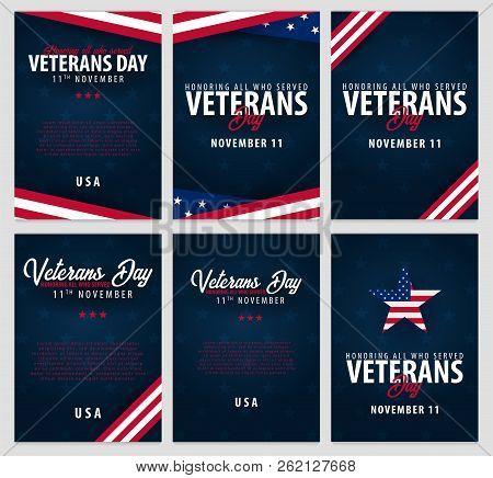 Set Of Veterans Day. Honoring All Who Served. November 11