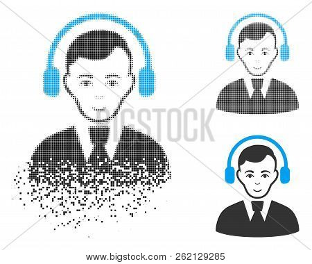 Radio Operator Icon With Face In Disintegrated, Dotted Halftone And Undamaged Whole Variants. Cells