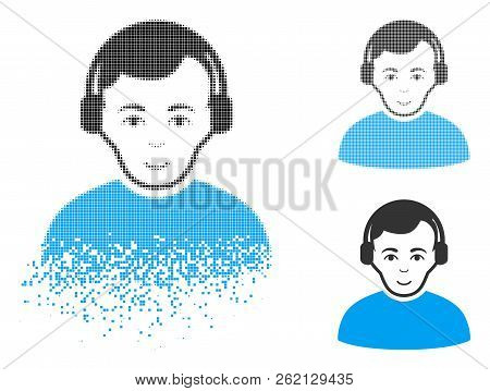 Radioman Icon With Face In Disappearing, Dotted Halftone And Undamaged Whole Versions. Cells Are Com