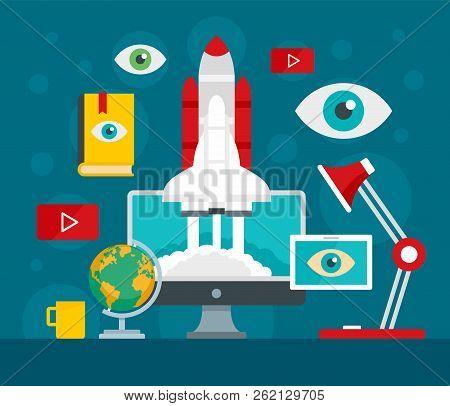 Start Up Vision Concept Background. Flat Illustration Of Start Up Vision Vector Concept Background F
