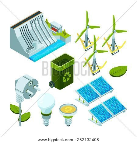 Green Energy. Saving Factory Power Electric Hydro Turbines Ecosystem Various Technology 3d Isometric